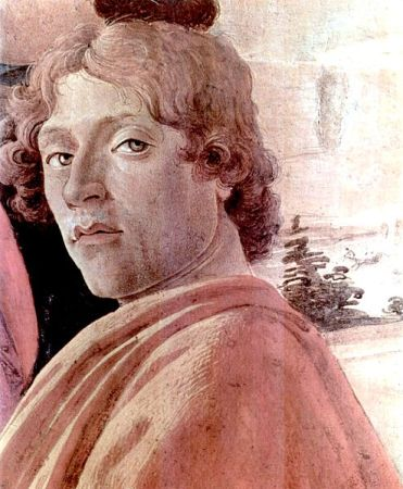 Detail from Sandro Botticelli's 1475 painting Adoration of the Magi is believed to be a self-portrait of the artist.