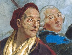 Self-Portrait of Giovanni Battista Tiepolo (left) and his son, from the Wurzburg Residence Frescoes (