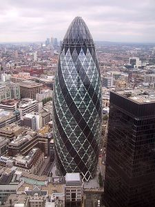 """The shape of Norman Foster's London skyscraper has led to the nickname, """"The Gherkin."""""""