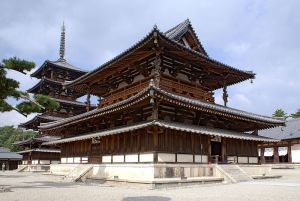 The Golden Hall and Five-Storied Pagoda of Horyu-ji Buddhist temple. The pagoda may be the oldest wooden structure in the world.