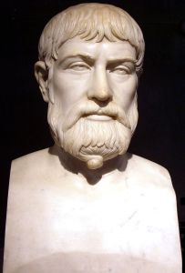 A Roman copy of a 5th Century BCE Greek bust of Pindar, now located at the Museo Archeologica Nazionale in Naples.