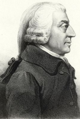 A portrait of Adam Smith. This is a 19th Century etching based on a 1787 medallion by James Tassie.