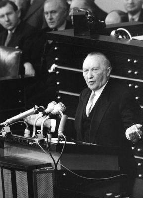 Konrad Adenauer in 1955 speaking to the Bundestag.