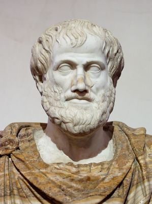 Bust of Aristotle in National Museum of Rome. Roman marble copy of Greek bronze original by Lysippos from 330 BCE.
