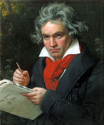 Portrait of Beethoven composing the Missa Solemnis, by Joseph Karl Stieler, from 1820. It may be seen at Beethoven-Haus, in Bonn, Germany.