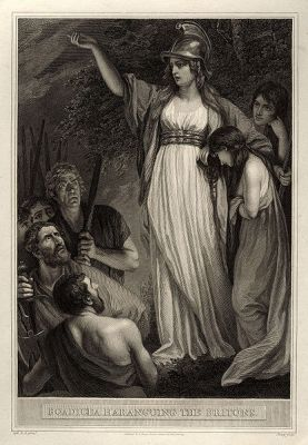 Boadicea Haranguing the Britons, from 1793. Original engraving by John Opie; print by William Sharp.