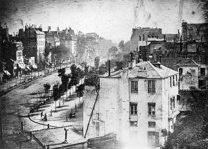 Daguerre's first daguerrotype, a view of the Boulevard du Temple taken in 1837.