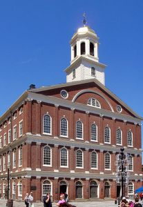 Faneuil Hall, in a slightly smaller iteration, was the site of many Revolutionary activities.