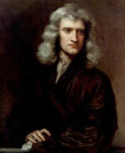 Portrait of Sir Isaac Newton (1643-1727) painted in 1689, when Newton was 46, by Sir Godfrey Kneller.