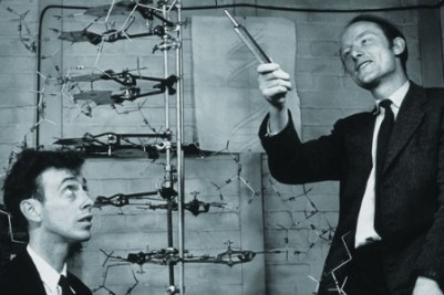 Francis Crick (right) and James Watson with DNA model.