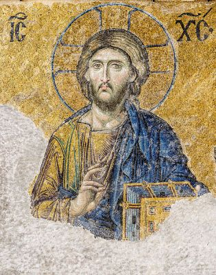 Mosaic of Jesus Christ from the Hagia Sophia in Istanbul, from the late 13th Century.