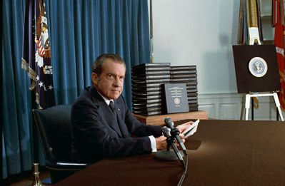 Richard Nixon announcing the release of edited White House transcripts in 1974.