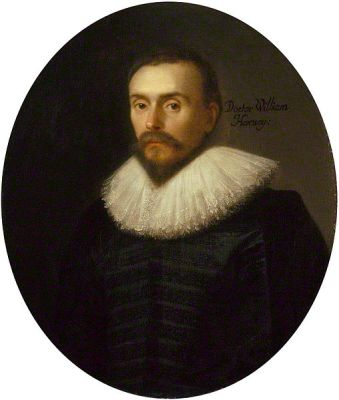 Portrait of William Harvey from 1627, attributed to Daniel Mytens. It is located in the National Portrait Gallery. Used by permission.