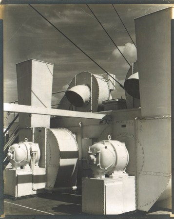 Charles Sheeler used his photograph Upper Deck as the basis for an oil painting.