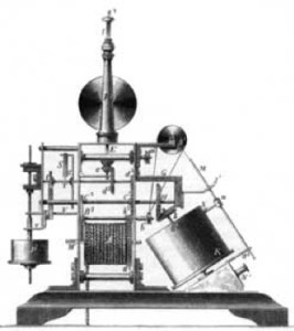A drawing of Alexander Bain's original fax machine, from 1842.