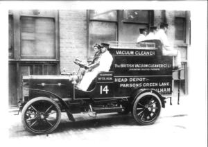 Herbert Cecil Booth's jumbo-sized vacuum cleaner in the early 20th Century.