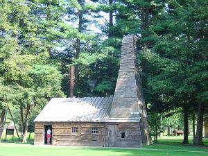 A replica of the engine house and derrick at Drake's Well in Titusville, PA.