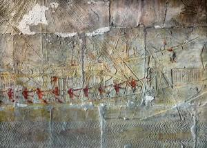 A depiction of an Egyptian sailboat from about 1500 BCE.