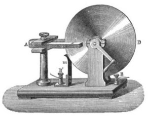 An 1884 drawing of a disk generator based on Faraday's original.