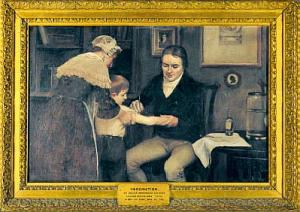 An artist's depiction of the first vaccination by Edward Jenner.