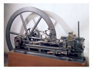 Internal combustion engine invented by Jean Joseph Lenoir.