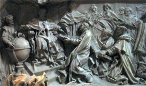 Camillo Rusconi's carvings on the tomb of Pope Gregory XIII in St. Peter's Basilica show the introduction of the Gregorian calendar.