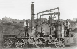 An 1862 photo of the early steam locomotive Puffing Billy.