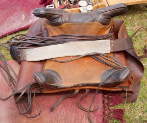This is a reconstruction of a Roman four-horn saddle from 100 BC-100 CE.