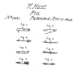 An illustration from Walter Hunt's 1849 patent - Figure 2 shows the first safety pin.