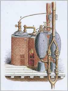 A drawing of the Savery steam engine, built in 1698.