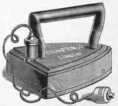A drawing of Seely's 1882 electric iron.