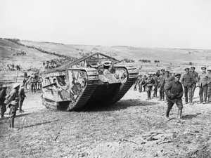 British troops surround a Mark I tank during the Battle of the Somme in 1916.