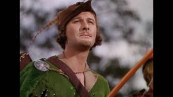 Errol Flynn as Robin Hood in The Adventures of Robin Hood (1938).