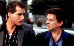 Joe Pesci and Ray Liotta in Goodfellas (1990), for which Pesci won a Best Supporting Actor Oscar.