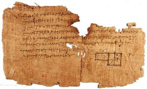 This fragment of a copy of Euclid's Elements dating to c. 100 CE was found at Oxyrhynchus in Egypt.