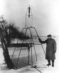 Robert Goddard with his first liquid fueled rocket in 1926.
