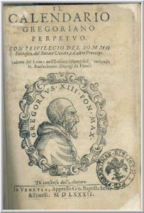 A copy of Pope Gregory's 1582 proclamation of the new calendar.