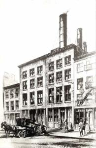 A sketch of the Edison Company's original power generation plant at Pearl Street in New York City.