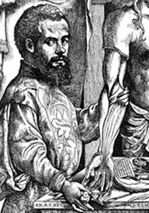 An engraved portrait of Andreas Vesalius (1514-1564) taken from his treatise.