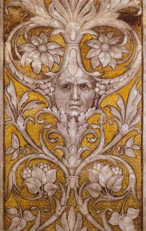 Andrea Mantegna painted a self-portrait into the floral designs of the Camera degli Sposi frescoes in Mantua (1565-1574).