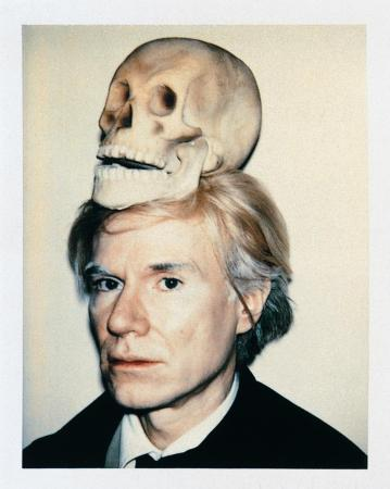 Andy Warhol's Self-Portrait with Skull (1977).