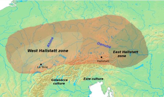 A map of the Hallstatt culture in Central Europe.