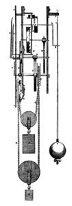 A diagram the first pendulum clock.