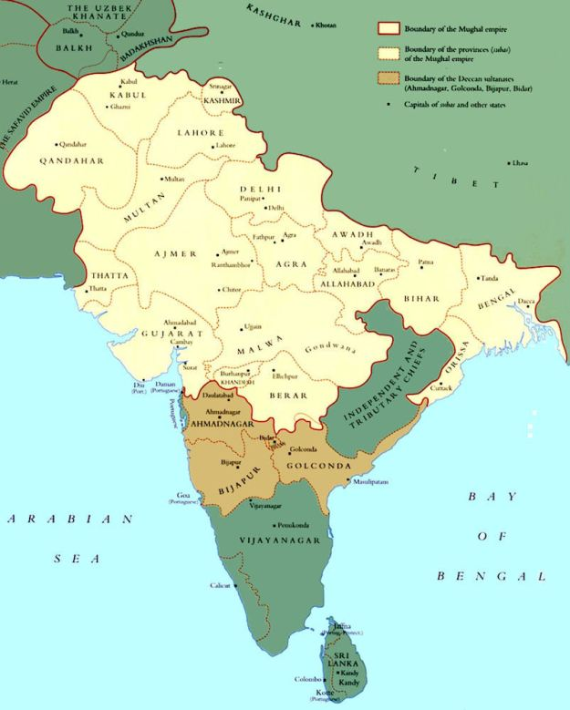 A map of the Mughal Empire in about 1600.