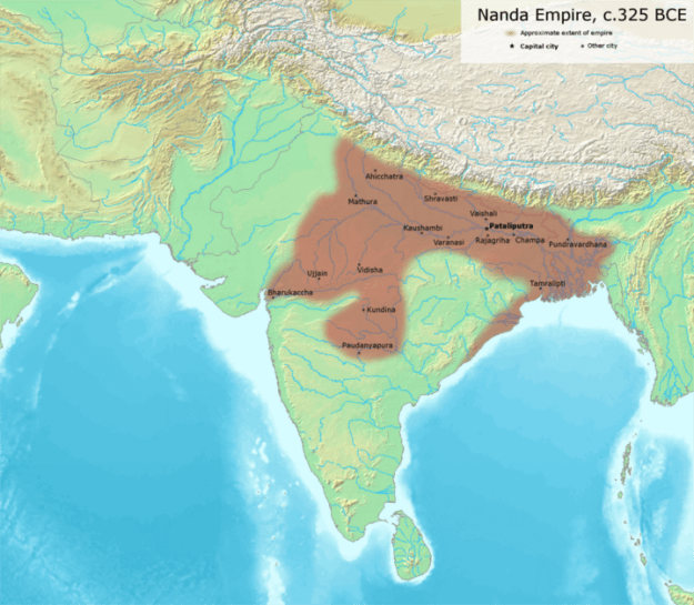 A map of the Nanda Empire at its greatest extent.