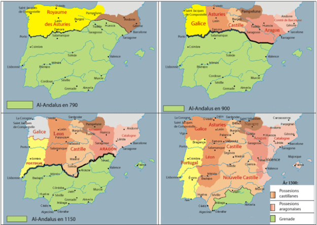 A map showing the advance of the Christian Reconquista and the shrinking Muslim kingdom of Al-Andalus.