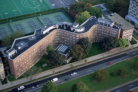 An aerial view of Baker House, by Alvar Aalto, at the Massachusetts Institute of Technology in Cambridge, Massachusetts.