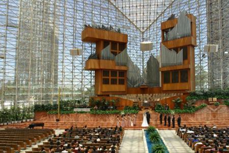 A wedding inside the Crystal Cathedral, Garden Grove, California.