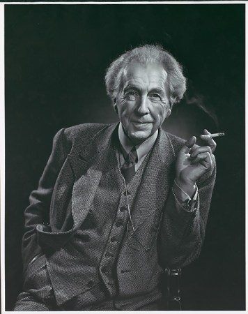 A 1945 photographic portrait of Frank Lloyd Wright by Yousef Karsh.