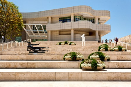 The entrance to the J. Paul Getty Museum in Los Angeles.